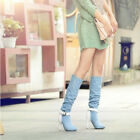 Womens Sweet Denim High Boots Riding Faux Suede Slim Heels Buckle NEW Stylish