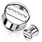 316L Surgical Stainless Steel Razor Blade cut out Tunnel Plug