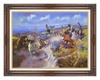 Framed Art Print A Tight Dally and Loose Latigo by Charles Russell Western Repro