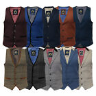 Mens Waistcoat Marc Darcy Vest Formal Herringbone Tweed Velvet Check Sleeveless