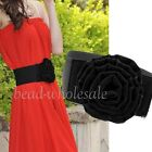 Elegant Lady Waist Belt Big Rose Buckle Elastic Wide Waistband For Wedding