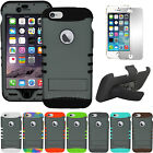 """Gray Hybrid Armor Impact Cover Case + Screen Holster Clip for iPhone 6 Plus 5.5"""""""