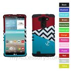 For LG G Vista Anchor Chevron Design Hybrid Rugged Impact Armor Phone Case Cover