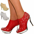 NEW Ladies Mirror Platform Sparkly Diamante High Heel Platform Shoe Booties Size