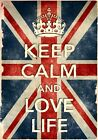 KCV37 Vintage Style Union Jack Keep Calm Love Life Funny Poster Print A2/A3/A4