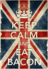 KCV42 Vintage Style Union Jack Keep Calm Eat Bacon Funny Poster Print A2/A3/A4