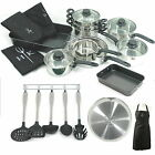 Hells Kitchen Stainless Steel Pan Set Ceramic Non Stick Frying Utensils Apron.