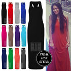 WOMENS LADIES JERSEY RACER BACK MAXI DRESS LONG VEST DRESS 8-14