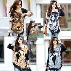 Womens Tiger Eagle Leopard Long Sleeve Casual Loose Sweater Knitted Blouse L XL