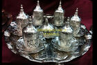 Imperial Big TURKISH COFFEE Set TRAY 6 MUGS Porcelain Cups SUGAR BOWL BRIGHT