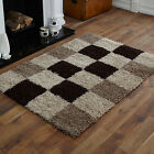 NEW CHOC BROWN BEIGE 5cm HIGH PILE BOX PATTERN LARGE MEDIUM SMALL SHAGGY RUGS