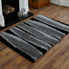 NEW 5cm HIGH PILE THICK NON SHED LARGE MEDIUM SMALL BLACK GREY D GREY SHAGGY RUG