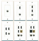 *(1 GANG DECORATIVE-1-6) COAX-CAT5E-HDMI or PHONE W/KEYSTONE JACK WALL PLATE