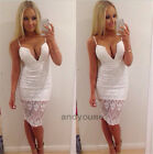 Sexy Womens Lace Hollow Deep V Sleeveless Bodycon Casual Party Pencil Mini Dress