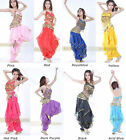 8 Colors Belly Dance Pepper Top Bra With Gold Wavy Harem Pants Skirt Set Costume