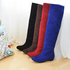 Women's Faux Suede Stretchy Low Heel Fashion Knee High Boots Shoes UK Size b252