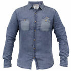 Mens Denim Shirt Soul Star Top Dot Pattern Collared Casual Long Sleeved Button