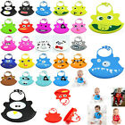 New Hot Kid Infant Baby Washable Silicone Feeding Bib Cute Cartoon Patterns Bib