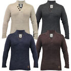 Mens Wool Mix Jumper Brave Soul Knitted Sweater Pullover Top Funnel Neck Casual