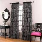 "Shabby Chic Zebra Ruffled Window Curtains - 2 Panels 56"" x 84"" Each - 3 Color"