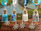 FROZEN GLITTER BOTTLE SNOWFLAKE CHARM HANDMADE NECKLACE PENDANT DISNEY PRINCESS