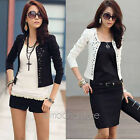 Ladies Womens Long Sleeve Rivet Stud Short Casual Suit Coat Jacket Blazer Top