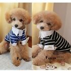 Puppy Dog Clothes Pet Dog Cat Clothing Striped T Shirt Apparel Pets Size M/L