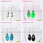 Fashion 12x30mm Drip Beads Tibetan Silver Dangle Earrings 1 Pair Seed_Beauty