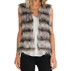 Trend Autumn Winter Casual Women Sleeveless Gradient Striped Faux Fur Waistcoat