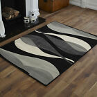 NEW X LARGE LARGE MEDIUM SMALL BLACK GREY CREAM WAVE PATTERN CHEAP SOFT RUG MAT