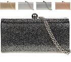 LADIES MIRROR DIAMANTE EVENING HARDCASE PURSE BRIDAL PROM CLUTCH BAG
