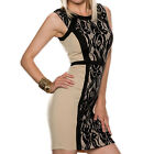 Fashion Sexy Women Lace Patchwork Sleeveless Back Zipper Bodycon Pencil Dress