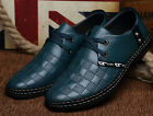fashion mens leather casual shoes lace up mixed round toe flat new loafers size