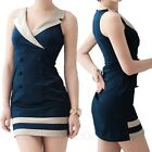 Work Party indie office Button Front Tank OL Nautical rock Dress UK sz 8-10