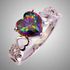 Lover Jewelry Heart Cut Rainbow & White Topaz Gems Silver Ring Size 6 7 8 9 10