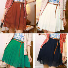 Girls Mini Skirts Chiffon Waist Pleated Short Dress+Belt,4 Colours.