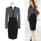 Sexy Women OL Polka Dot Bodycon Career Formal Party Cocktail Wiggle Pencil Dress