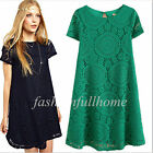 Sexy Women Casual Lace Floral Skirt Short Sleeve Loose Dress Party Mini Dress