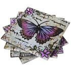 Lavender Butterfly decorative square plate or drinks coaster butterflies flowers