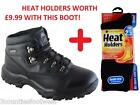 MENS WALKING  BOOTS WATERPROOF HIKING BOOTS BLACK LEATHER AND SOCK OFFER