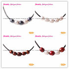 New 9-10mm Pearls Bead 5 pcs Strand Adjustable Black Rope Jewelry Necklace 17.5""