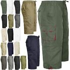 MENS ELASTICATED WAIST SUMMER COTTON SWIM BEACH CARGO COMBAT 3/4LONG SHORTS PANT