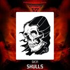 Airbrush stencil template DELTAARTS SKULL 31 -  4 SIZES AVAILABLE MINI MID
