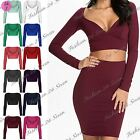 Womens Ladies Full Sleeve V Neck Short Wrap Cross Over Bralet Crop Cropped Tops