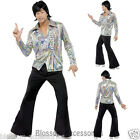CL294 70's Retro Man Costume Rainbow Paisley Shirt + Flares Disco Pants Outfit
