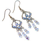 LIGHT SAPPHIRE BLUE Crystal Chandelier Earrings Silver Prom Swarovski Elements