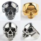 316L Stainless Steel Fancy Skull Head Design Black/Silver/Golden Rings Size 7-14