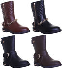 Womens Low Block Heel Side Zip Chain Fashion Mid Calf Boots