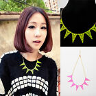 Punk Candy Color Hollow Out Triangle Necklace Fluorescent Triangle Rivet Pendant