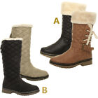 WOMENS LADIES GIRLS FLAT WARM HIGH CALF KNEE FUR LINED WINTER SNOW BOOTS SIZE